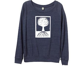 Womens Tree Sweater -  Wood Cut -  Navy Blue Tree  - Sweatshirts - Small, Medium, Large, XL