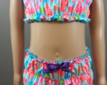 Children'sLt blue with Hot Pink / orange / purple Hearts  Ruffle Two Piece Tank Set Swimsuit