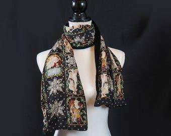 Victorian Christmas Scarf 100% Silk Chiffon and Black Velvet