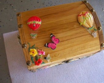 Large Golden Oak Box with floral and Hot air balloon designs