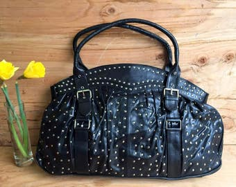 Genuine Leather Weekender / Studded Leather Carryall BARGANZA sorpresa Bag