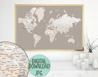 Capitals world map etsy highly detailed map 60x40 printable world map with cities capitals countries gumiabroncs Gallery
