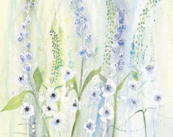 White Anemones and Stocks Watercolour Print