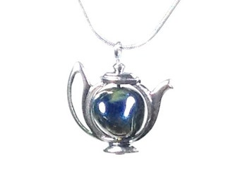 Teapot necklace...silver glass