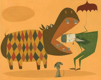 Arthur and Buckminster run into a hippopotamus on their afternoon walk.  Limited edition print by Matte Stephens.