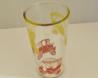 Vintage Swanky Swig Drinking Glass w/ Red and Yellow Antique Cars Anchor Hocking