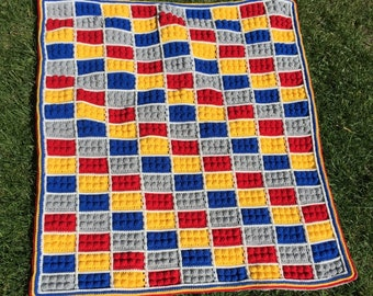 Crochet Lego Baby Blanket Lego Kid's Throw
