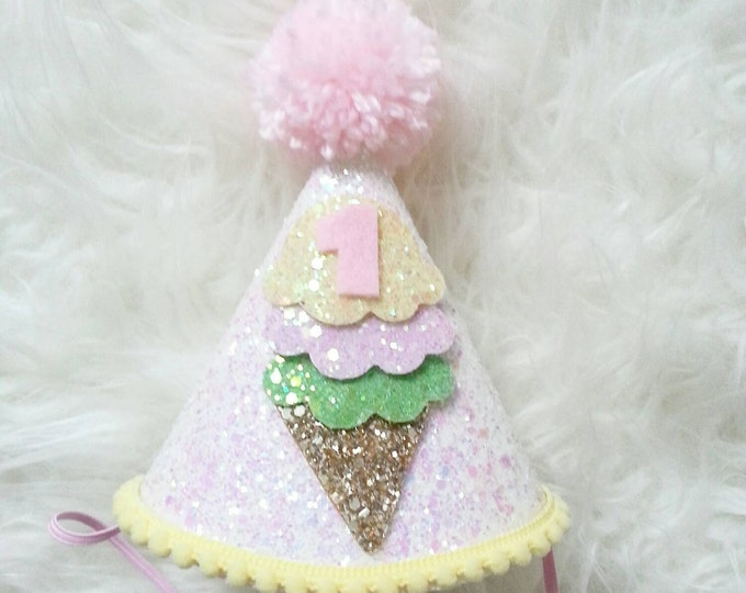 Glittery Ice Cream Theme Birthday Party Hat, 1 Birthday Ice Cream Party Hat, ice cream birthday, first birthday,baby birthday, birthday hat