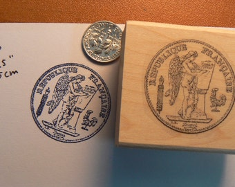 French antique coin rubber stamp WM P16