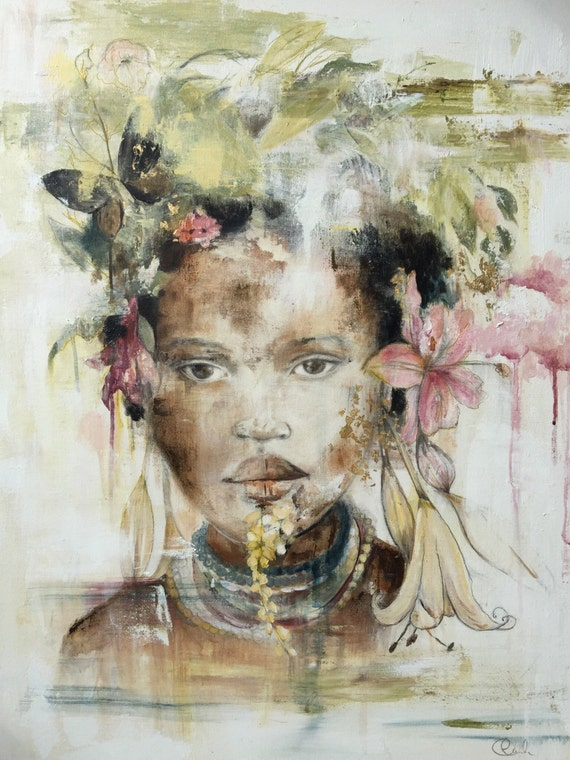 Mursi inspired portrait with lilies