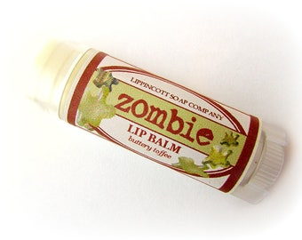Lip Balm,Zombie Lip Balm,Buttery Toffee Scented Lip Balm,Phthalate Free Lip Balm,Teen Gift,Unsweetened Lip Balm, Gag Gift, Father's Day Gift