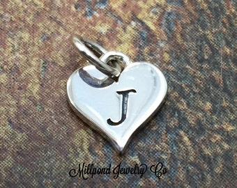 Initial Charm, Letter Charm, J Charm, Letter J Charm, Heart Letter Charm, Alphabet Charm, Sterling Silver Charm