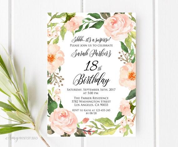 18th birthday invitation floral birthday invitation filmwisefo