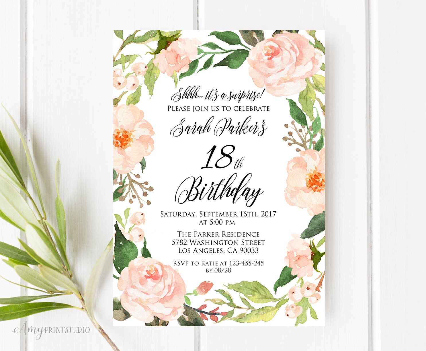 18th Birthday Invitation Floral Birthday Invitation