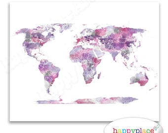 Feminine world map etsy pink and purple wall art watercolor world map poster 8x10 11x14 world gumiabroncs Gallery