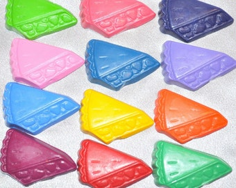 Pie Shaped Recycled Crayons, Total of 12.  Boy or Girl Kids Unique Party Favors, Crayons.