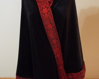 Palestinian Embroidered trim velvet black & red poncho