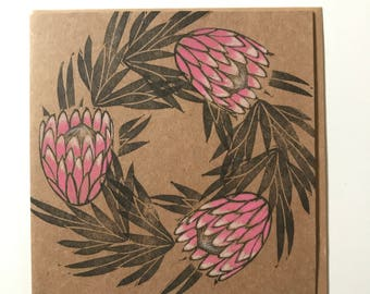 Protea flower card,mother's day card, protea flower print, protea wedding card, handmade protea card, protea art, pink protea lino print