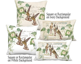 Brown Hummingbirds Passionflower Pillow Cover - Square or Lumbar Decorative Bird Pillow 12x18 12x20 14x26 16x24 16x 18x 20x 22x 24x 26x 28x
