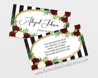 Event planner business cards - Striped business cards - Printable business cards - Floral peony business cards - makeup business cards