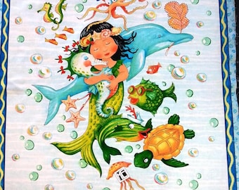 Mermaid merriment ocean fish quilt or wallhanging cotton fabric panel - make a great handmade baby gift