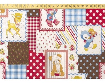 Retro Patchwork fabric by Kokka with deer and bears