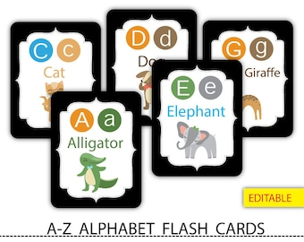 Editable Alphabet flash cards,Classroom décor,Animal alphabet card set,abc Nursery wall cards,abc cards,Printable #FC010