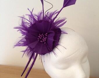 Purple fascinator, wedding, ascot, kentucky derby, colour of the year Pantone 2018