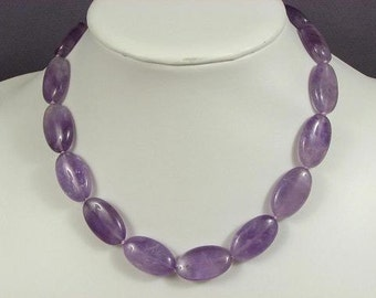 Necklace Amethyst 25mm Flat Ovals 925 NSAT4115