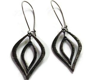 Double Black Flame Earrings