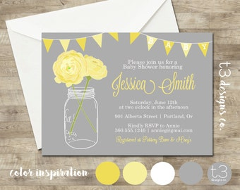 NEUTRAL Baby Shower Invitation, baby shower invite, mason jar baby shower, mason jar, flowers, baby, yellow, gray, 1016