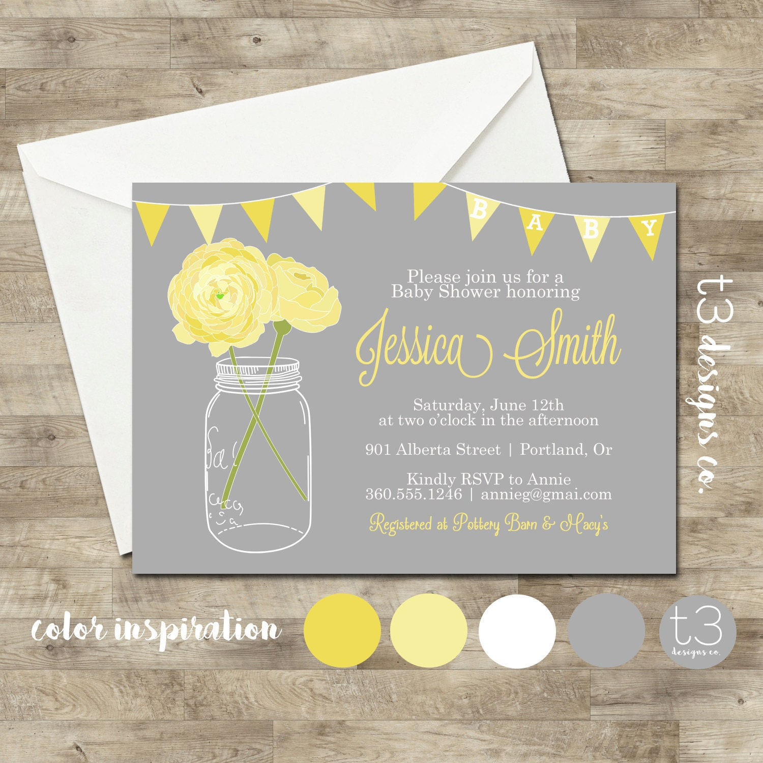 Neutral baby shower invitation baby shower invite mason jar baby neutral baby shower invitation baby shower invite mason jar baby shower mason jar flowers baby yellow gray 1016 filmwisefo