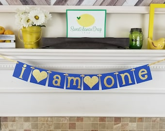 royal blue gold prince I AM ONE birthday decorations decor highchair banner smash cake first 1st