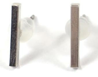 Silver Rectangle Line Earrings