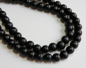 Jet Black wood beads round 10mm full strand eco-friendly Cheesewood 1616NB