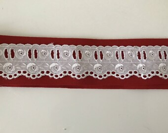 Lace white broderie anglaise with past Ribbon 4 cm width