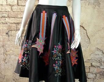 Black Satin Embroidered Midi Skirt with neon shooting stars, Pop Art Clothing, Avant Garde size 12