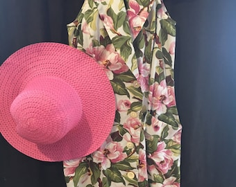 Sleeveless Olive & Pink Floral Fitted Cotton Sundress w Collar/By CDC/Size 8-10
