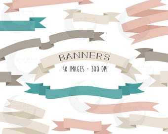 Banners Clipart Set - Ribbon Banners & Headers - Commercial Use
