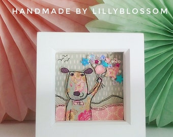 Paper Art Puppy Picture Celebration Bouquet Mini Box Frame 3D papercraft sequins layered pearls thank you gift teacher