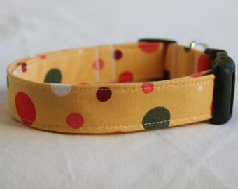 Dog Collar- Brown- Coral- Green-Orange Polka Dots on Golden Yellow- Adjustable Dog- Pet Collar- Pet Accessories- Supplies