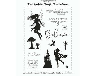 A6 set of photo-polymer clear stamps - FAIRY SILHOUETTE