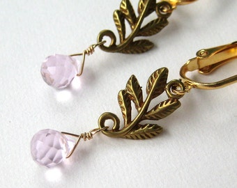 Golden Leaves Clip Earrings, Pink Faceted Teardrop Earrings for Non Pierced Ears, Brass Branches, Pale Pink Stones Clip On Earrings, Sylvan