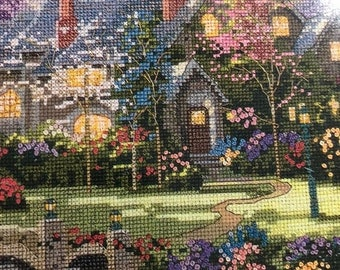 SUMMERSALE Thomas Kinkade, Painter of Light, Beyond Spring Gate, Designed for, Counted Cross Stitch, or Needlepoint, Candamar, Designs Chart