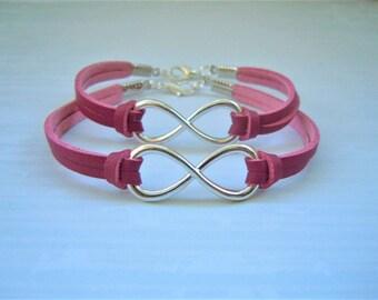 Infinity Bracelets BFF Best Friend Gifts Matching Bracelets Hot Pink Sister Twins Jewelry Friendship Infinity Jewellery Easter