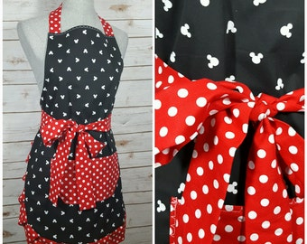 Adult Womens Apron | Black with White Mickey Mouse, Red Polka Dot Waist Tie and Pocket, Ruffle Bottom