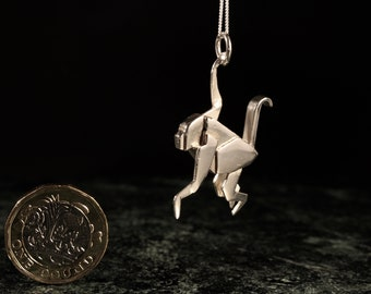 Sterling Silver Origami Monkey Necklace