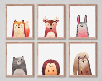 Squirrel Print, Woodlands Decor, Wall Art, Animals Print, Woodlands Nursery Art, Minimal, Instant Download, Squirrel, Home Decor