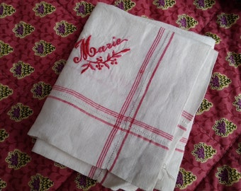 Antique French Women Handkerchief red and white plaid linen Marie hand embroidered Large Fabric Tissue #sophieladydeparis