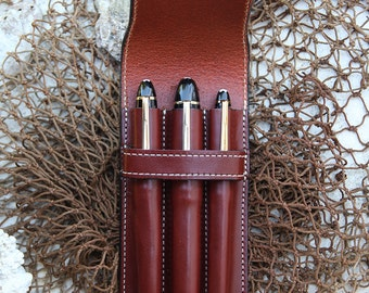 Triple Vegetable Tan  Leather (3) Pen Case Cordovan